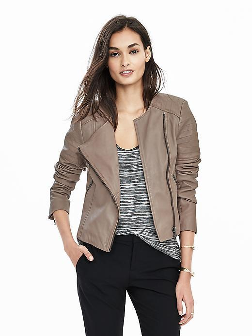 Collarless Leather Jacket Gray - pattern: plain; style: biker; collar: asymmetric biker; predominant colour: taupe; occasions: casual, creative work; length: standard; fit: tailored/fitted; fibres: leather - 100%; sleeve length: 3/4 length; sleeve style: standard; texture group: leather; collar break: medium; pattern type: fabric; season: s/s 2016; wardrobe: basic