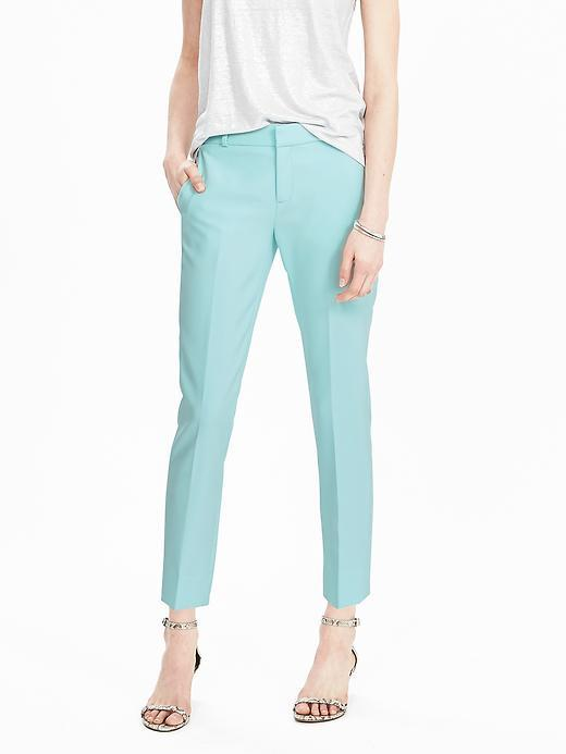 Avery Fit Solid Pant Light Blue - pattern: plain; waist: mid/regular rise; predominant colour: turquoise; occasions: casual; length: ankle length; fibres: polyester/polyamide - stretch; texture group: cotton feel fabrics; fit: straight leg; pattern type: fabric; style: standard; season: s/s 2016; wardrobe: highlight