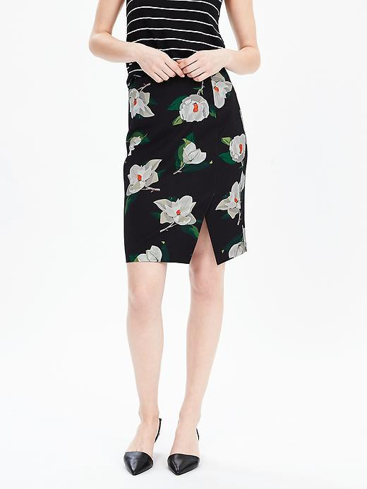 Magnolia Print Pencil Skirt Black Print - style: pencil; fit: tailored/fitted; waist: mid/regular rise; secondary colour: ivory/cream; predominant colour: black; length: just above the knee; fibres: polyester/polyamide - 100%; occasions: occasion, creative work; hip detail: slits at hip; pattern type: fabric; pattern: florals; texture group: woven light midweight; pattern size: big & busy (bottom); season: s/s 2016; wardrobe: highlight