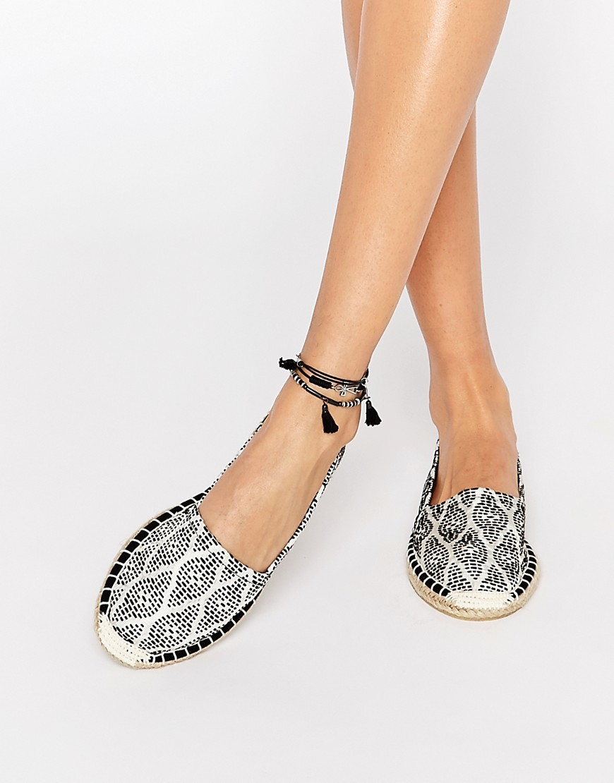 Printed Espadrille Black Pattern - predominant colour: black; occasions: casual, holiday; material: fabric; heel height: flat; ankle detail: ankle tie; toe: round toe; finish: plain; pattern: patterned/print; style: espadrilles; season: s/s 2016; wardrobe: highlight