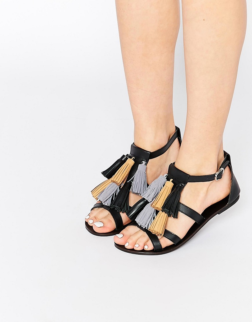 Felix Mega Tassel Leather Sandals Black - secondary colour: pale blue; predominant colour: black; occasions: casual; material: leather; heel height: flat; embellishment: tassels; heel: standard; toe: open toe/peeptoe; style: standard; finish: plain; pattern: plain; season: s/s 2016; wardrobe: highlight