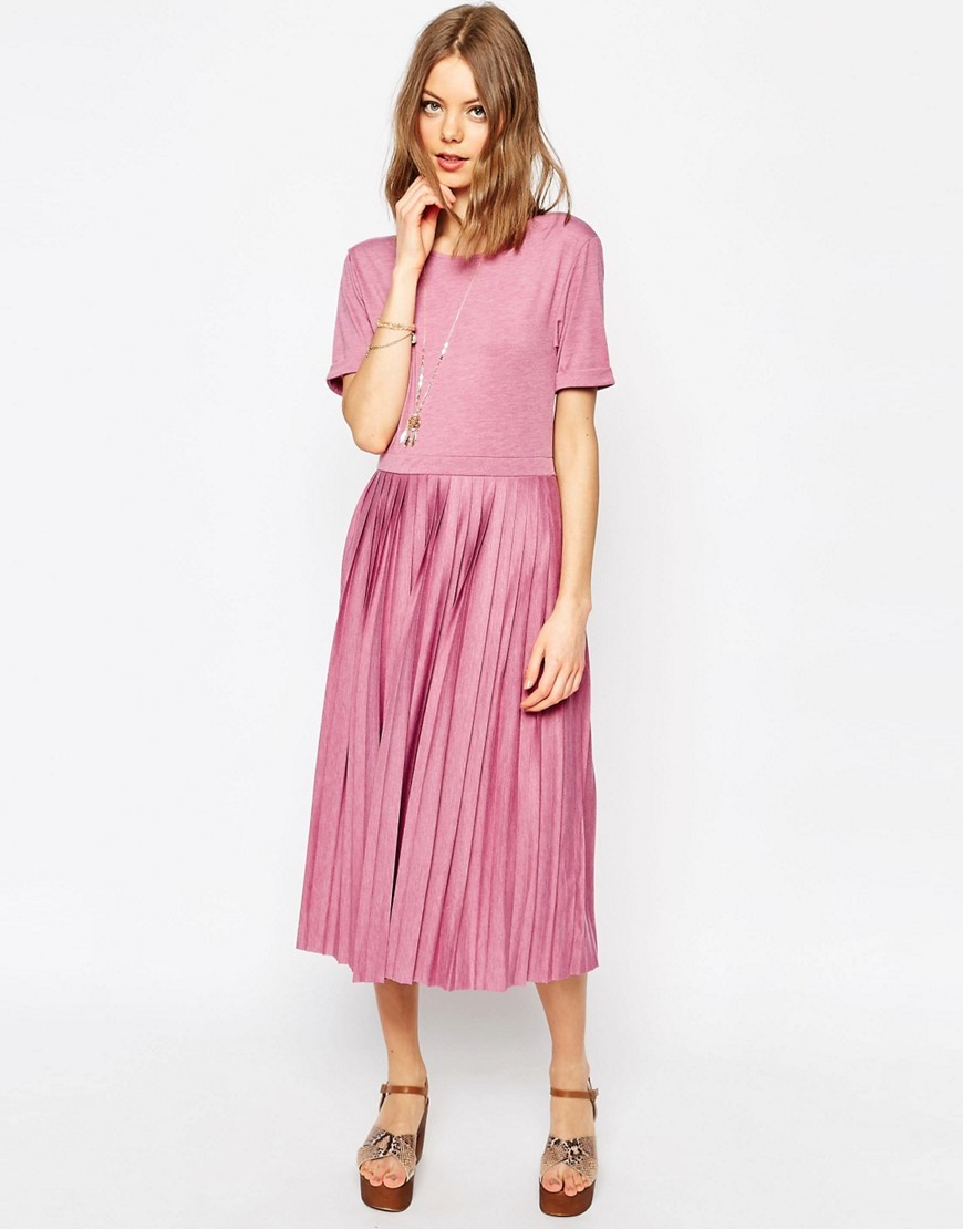 Pleated Midi Dress Pink - length: below the knee; pattern: plain; predominant colour: pink; fit: fitted at waist & bust; style: fit & flare; fibres: polyester/polyamide - mix; neckline: crew; sleeve length: short sleeve; sleeve style: standard; pattern type: fabric; texture group: other - light to midweight; occasions: creative work; season: s/s 2016; wardrobe: highlight