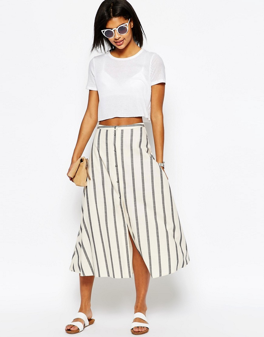 Button Through Midi Skirt In Natural Stripe Multi - length: calf length; pattern: vertical stripes; style: full/prom skirt; fit: loose/voluminous; waist: mid/regular rise; predominant colour: ivory/cream; secondary colour: mid grey; occasions: casual; fibres: cotton - 100%; pattern type: fabric; texture group: woven light midweight; multicoloured: multicoloured; season: s/s 2016; wardrobe: highlight