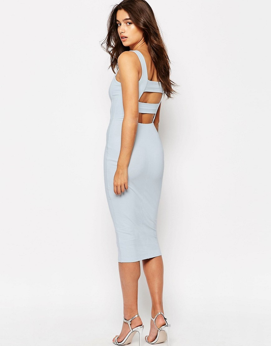 Strap Back Pini Bodycon Midi Dress Pale Blue - length: below the knee; neckline: round neck; fit: tight; pattern: plain; sleeve style: sleeveless; style: bodycon; predominant colour: pale blue; fibres: cotton - stretch; occasions: occasion; sleeve length: sleeveless; pattern type: fabric; texture group: jersey - stretchy/drapey; season: s/s 2016; wardrobe: event