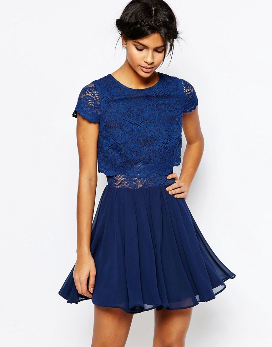 Crop Top Lace Mini Dress Navy - length: mid thigh; pattern: plain; predominant colour: royal blue; fit: fitted at waist & bust; style: fit & flare; fibres: nylon - mix; occasions: occasion; neckline: crew; sleeve length: short sleeve; sleeve style: standard; texture group: lace; pattern type: fabric; season: s/s 2016; wardrobe: event