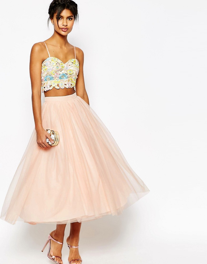 Tulle Prom Skirt With Multi Layers Nude - length: calf length; pattern: plain; style: full/prom skirt; fit: loose/voluminous; waist: mid/regular rise; predominant colour: pink; occasions: evening; fibres: polyester/polyamide - 100%; pattern type: fabric; texture group: net/tulle; season: s/s 2016; trends: new romantics