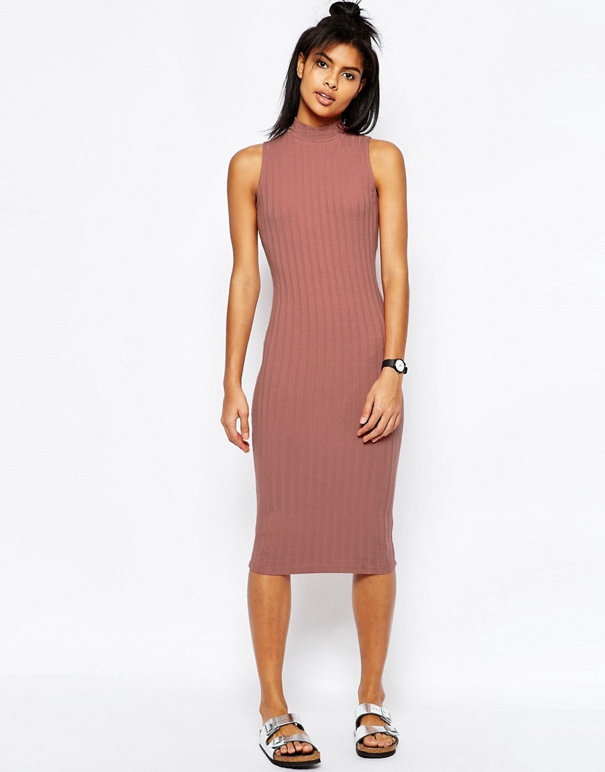 Sleeveless Chunky Rib Midi Bodycon Dress Red - length: below the knee; fit: tight; pattern: plain; sleeve style: sleeveless; neckline: high neck; style: bodycon; predominant colour: pink; occasions: evening; fibres: cotton - stretch; sleeve length: sleeveless; texture group: jersey - clingy; pattern type: fabric; season: s/s 2016