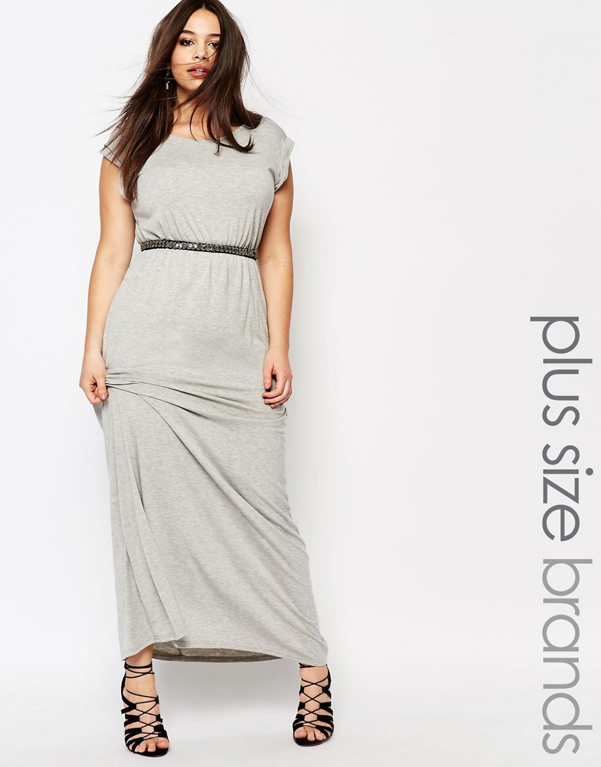 Plus Essentials T Shirt Maxi Dress Grey - neckline: round neck; sleeve style: capped; pattern: plain; style: maxi dress; length: ankle length; waist detail: belted waist/tie at waist/drawstring; predominant colour: light grey; occasions: casual; fit: body skimming; fibres: cotton - stretch; sleeve length: short sleeve; pattern type: fabric; texture group: jersey - stretchy/drapey; season: s/s 2016; wardrobe: basic