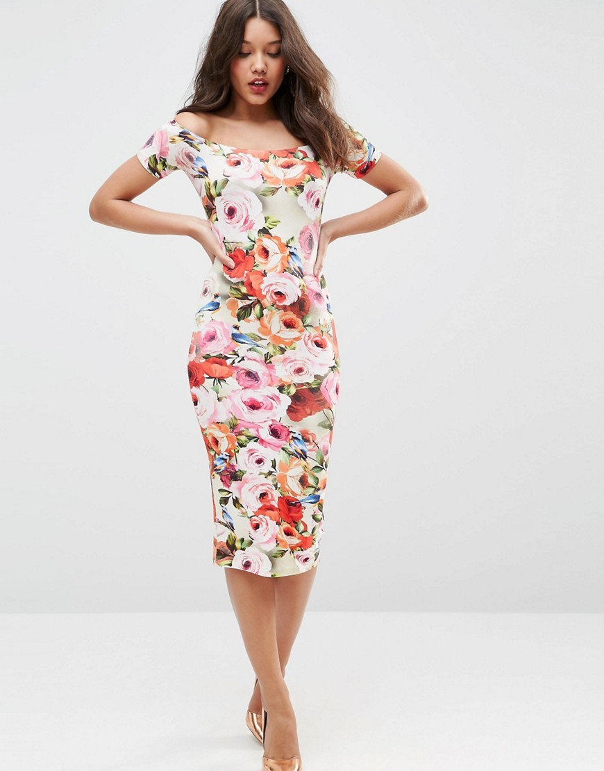 Short Sleeve Floral Bardot Off The Shoulder Midi Dress Multi - length: below the knee; fit: tight; style: bodycon; predominant colour: ivory/cream; secondary colour: blush; neckline: scoop; fibres: viscose/rayon - stretch; occasions: occasion; sleeve length: short sleeve; sleeve style: standard; pattern type: fabric; pattern size: standard; pattern: florals; texture group: woven light midweight; multicoloured: multicoloured; season: s/s 2016; trends: new romantics; wardrobe: event