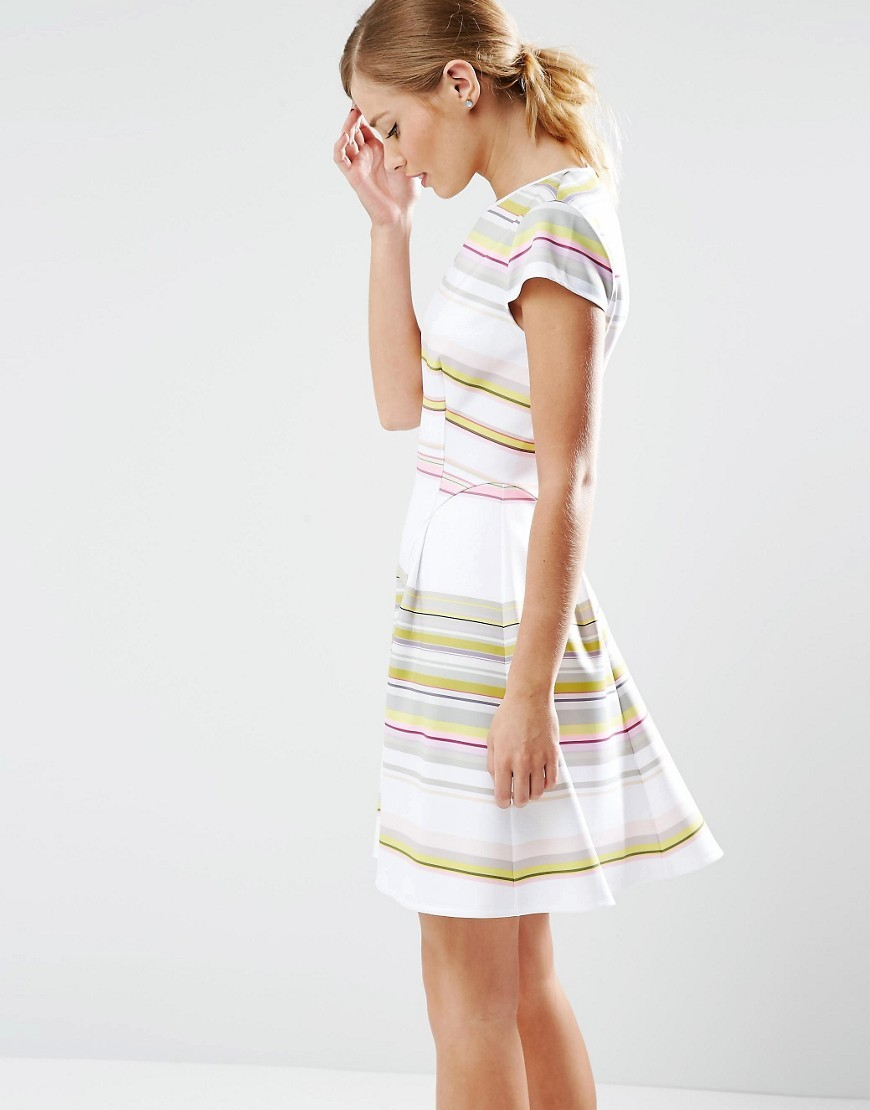Aquai Skater Dress In Carousel Stripe 33 Olive - pattern: horizontal stripes; predominant colour: white; secondary colour: primrose yellow; occasions: evening; length: just above the knee; fit: fitted at waist & bust; style: fit & flare; fibres: polyester/polyamide - stretch; neckline: crew; sleeve length: short sleeve; sleeve style: standard; pattern type: fabric; texture group: jersey - stretchy/drapey; multicoloured: multicoloured; season: s/s 2016; wardrobe: event