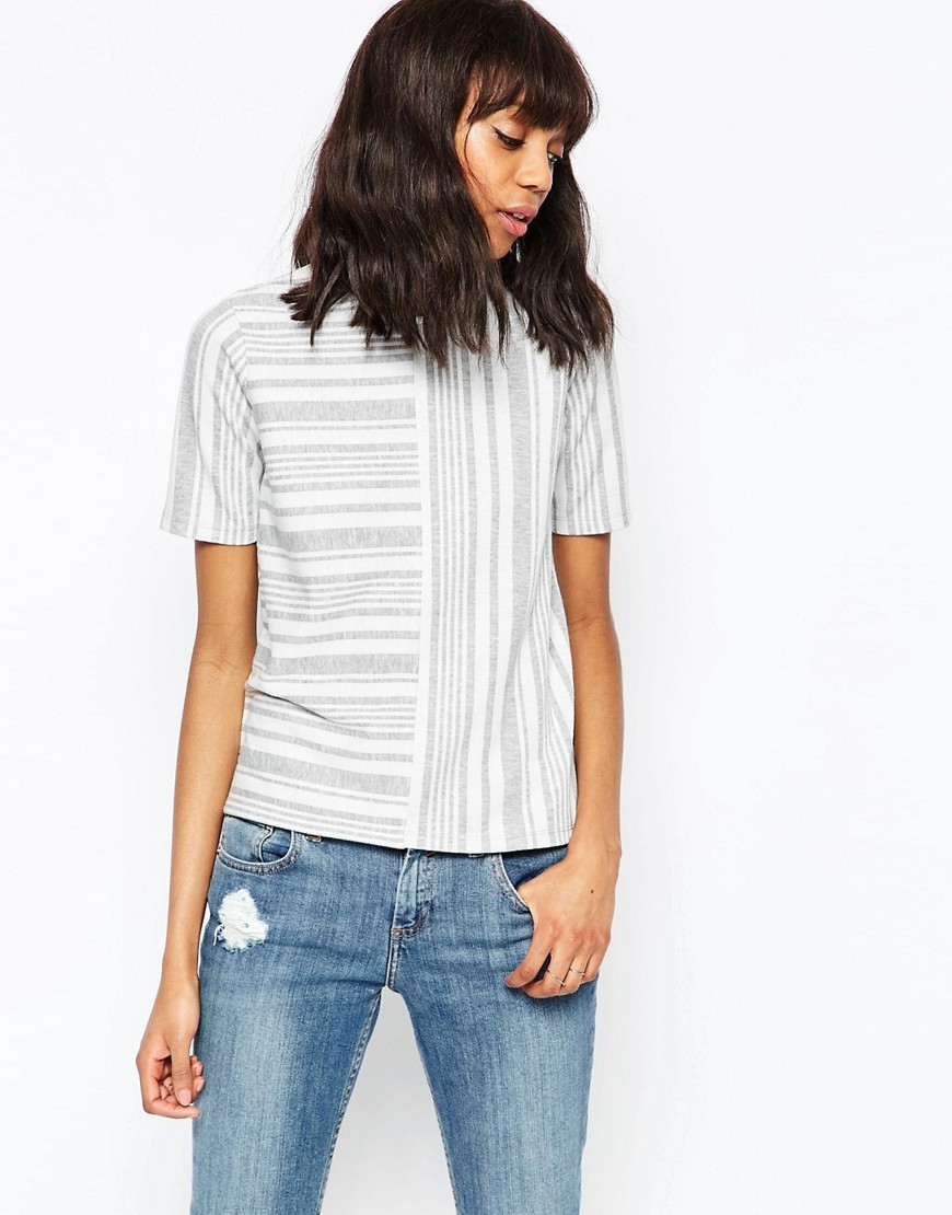 The Ponte Top In Block Stripe Grey/White - pattern: striped; predominant colour: white; secondary colour: light grey; occasions: casual; length: standard; style: top; fibres: polyester/polyamide - mix; fit: body skimming; neckline: crew; sleeve length: short sleeve; sleeve style: standard; pattern type: fabric; pattern size: standard; texture group: jersey - stretchy/drapey; multicoloured: multicoloured; season: s/s 2016; wardrobe: highlight