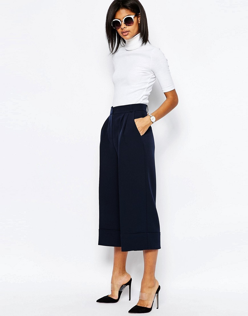 High Waist Culottes With Deep Turn Up Navy - pattern: plain; style: palazzo; waist: high rise; pocket detail: pockets at the sides; predominant colour: navy; length: ankle length; fibres: polyester/polyamide - stretch; fit: wide leg; pattern type: fabric; texture group: other - light to midweight; occasions: creative work; season: s/s 2016; wardrobe: basic