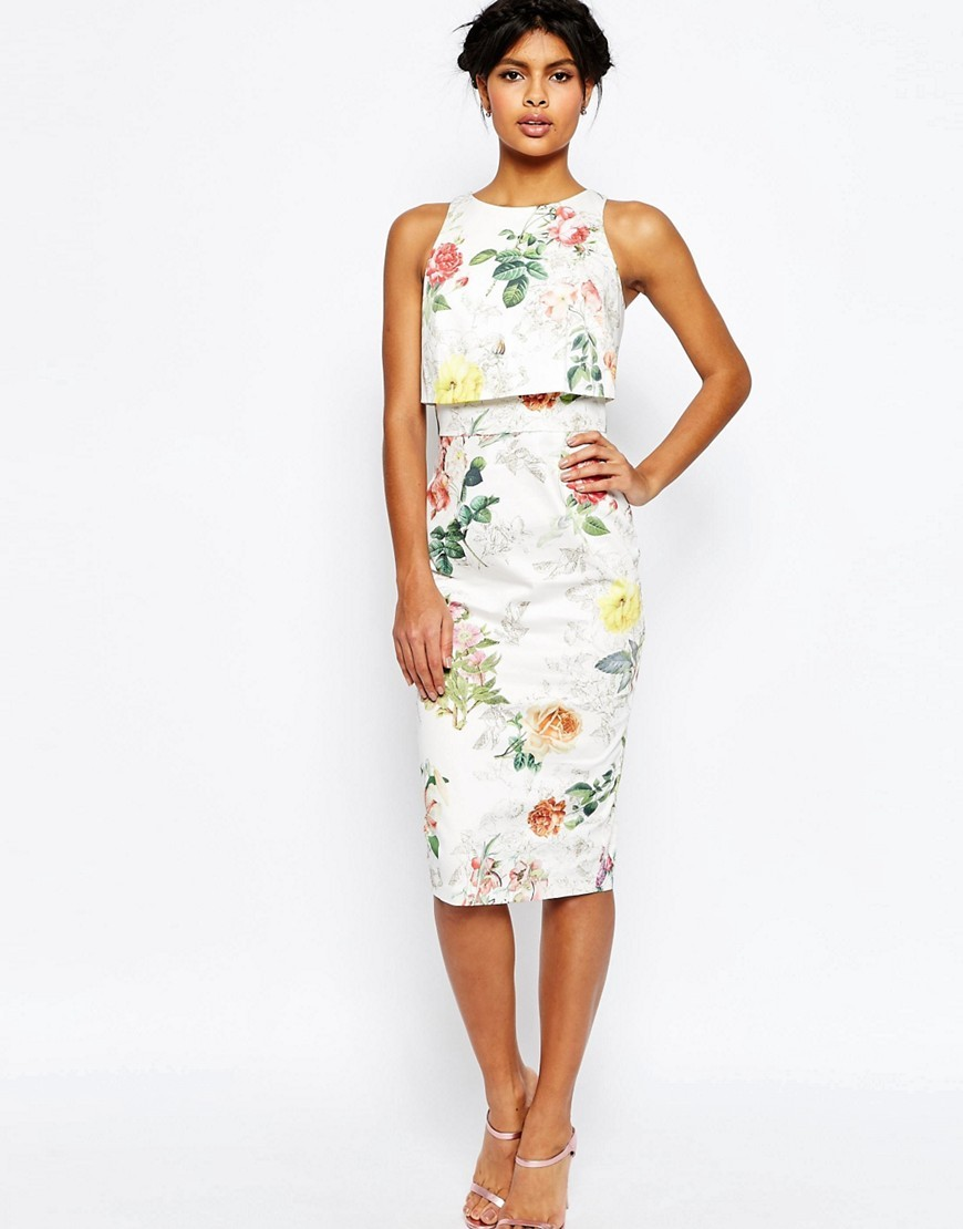 Crop Top Midi Pencil Dress In Botanical Floral Multi - style: shift; length: below the knee; fit: tailored/fitted; sleeve style: sleeveless; predominant colour: ivory/cream; secondary colour: emerald green; fibres: cotton - stretch; occasions: occasion; neckline: crew; sleeve length: sleeveless; pattern type: fabric; pattern size: standard; pattern: florals; texture group: other - light to midweight; multicoloured: multicoloured; season: s/s 2016; wardrobe: event