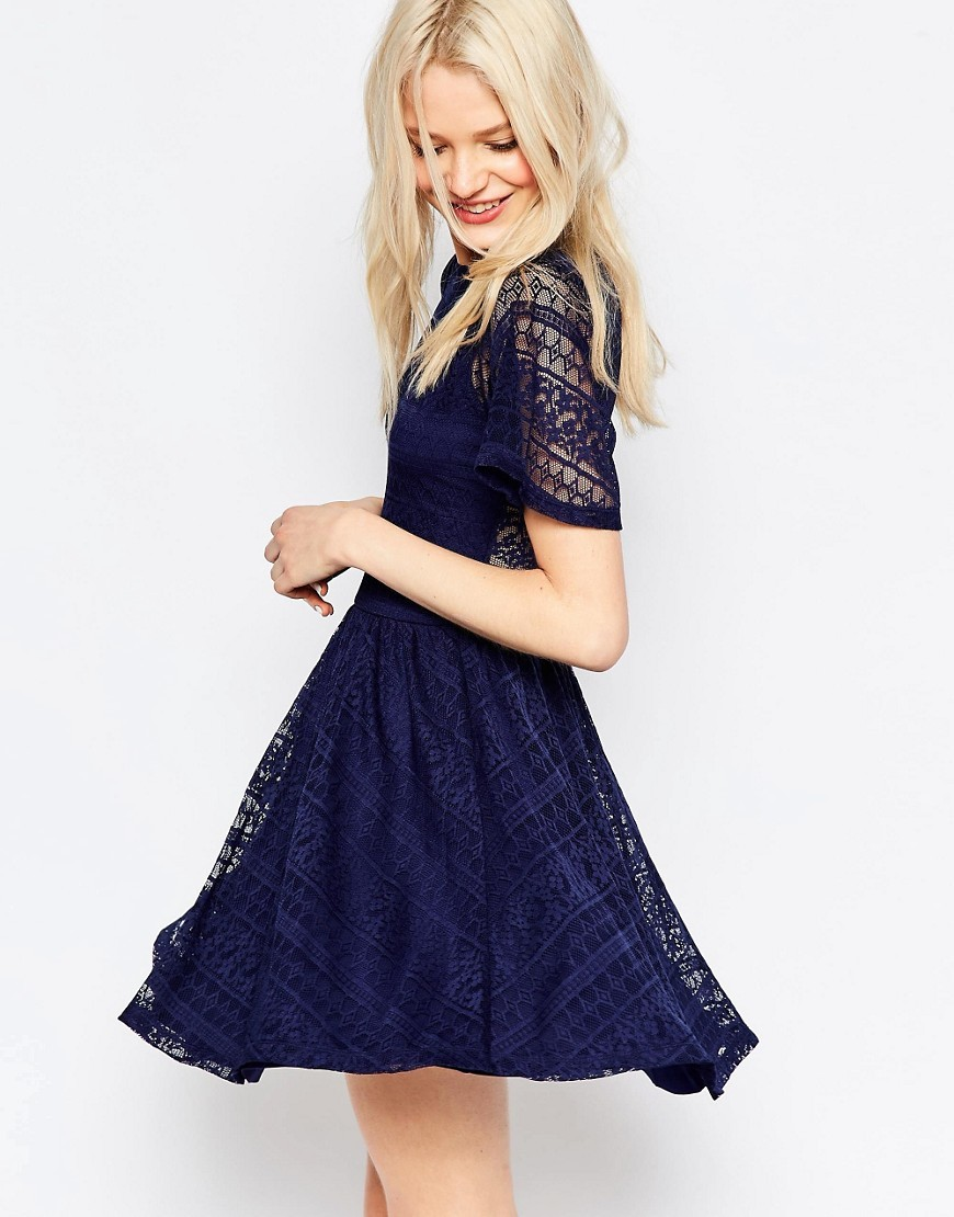 Skater Dress With Lace Back And Keyhole Navy - length: mid thigh; neckline: low v-neck; predominant colour: navy; occasions: evening; fit: fitted at waist & bust; style: fit & flare; fibres: polyester/polyamide - 100%; back detail: keyhole/peephole detail at back; sleeve length: half sleeve; sleeve style: standard; texture group: lace; pattern type: fabric; pattern size: standard; pattern: patterned/print; embellishment: lace; season: s/s 2016; wardrobe: event