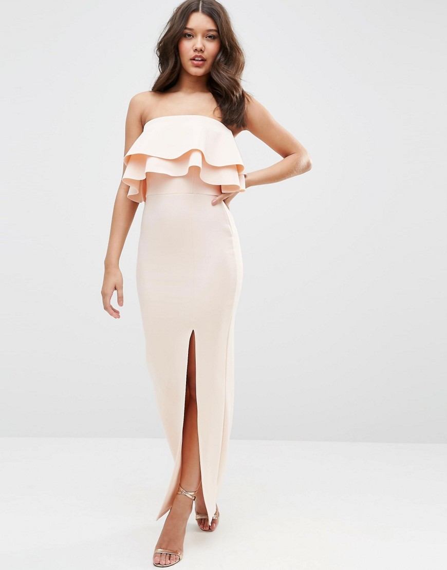 Premium Ruffle Bandeau Scuba Maxi Dress Nude - neckline: strapless (straight/sweetheart); pattern: plain; style: maxi dress; sleeve style: strapless; length: ankle length; predominant colour: blush; fit: body skimming; fibres: polyester/polyamide - stretch; occasions: occasion; sleeve length: sleeveless; bust detail: bulky details at bust; pattern type: fabric; texture group: other - light to midweight; season: s/s 2016; wardrobe: event