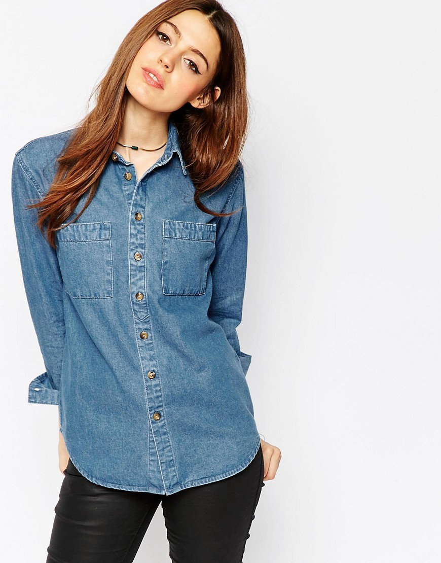 Denim Shirt In Marlin Retro Blue Wash Midwash Blue - neckline: shirt collar/peter pan/zip with opening; pattern: plain; style: shirt; bust detail: subtle bust detail; predominant colour: denim; occasions: casual; length: standard; fibres: cotton - stretch; fit: straight cut; sleeve length: long sleeve; sleeve style: standard; texture group: denim; pattern type: fabric; season: s/s 2016; wardrobe: basic