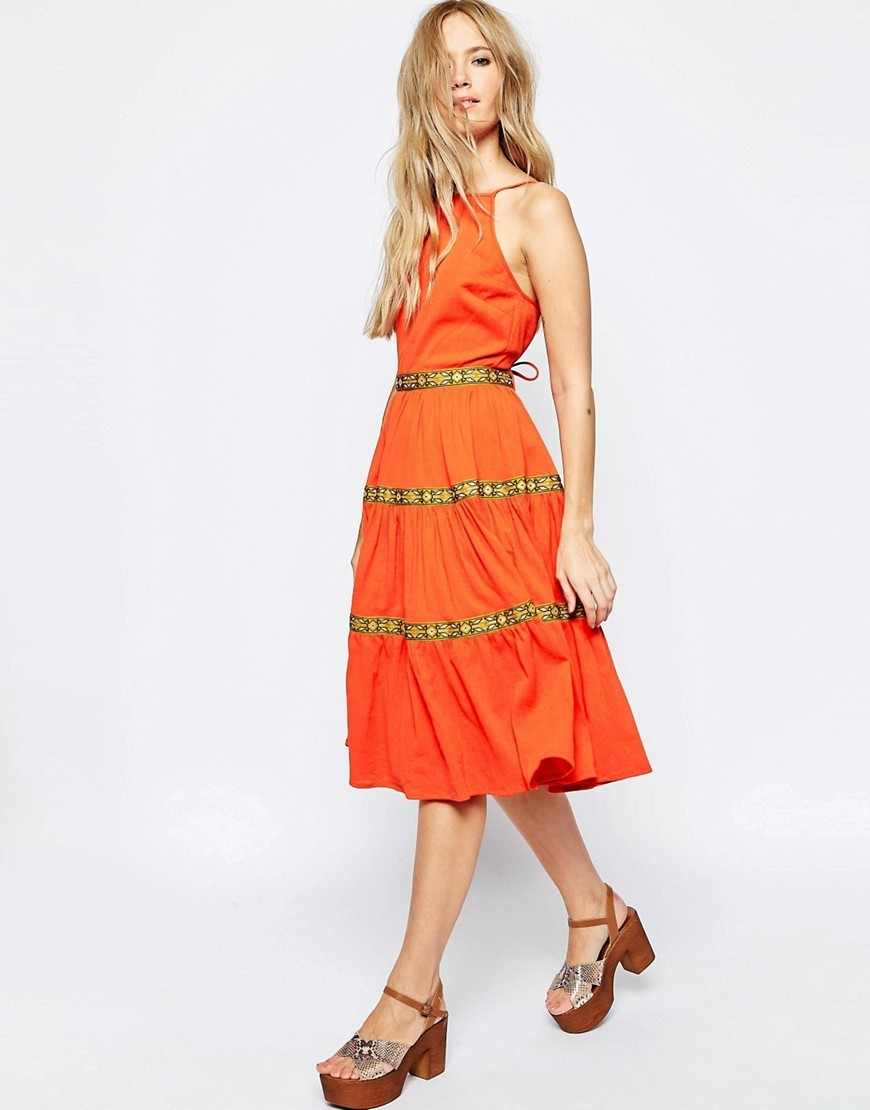 Tiered Midi Sundress With Tape Detail Orange - length: calf length; sleeve style: sleeveless; predominant colour: bright orange; occasions: casual; fit: fitted at waist & bust; style: fit & flare; fibres: cotton - 100%; neckline: crew; sleeve length: sleeveless; pattern type: fabric; pattern: patterned/print; texture group: jersey - stretchy/drapey; season: s/s 2016; trends: shiny surfaces; wardrobe: highlight
