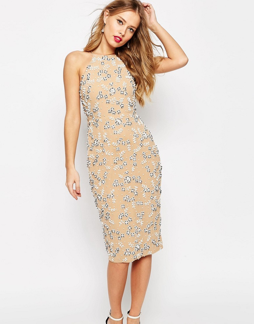 Salon Drape Back Beaded Floral Midi Dress Mink - style: shift; length: below the knee; fit: tailored/fitted; sleeve style: sleeveless; neckline: high neck; predominant colour: nude; secondary colour: silver; occasions: evening, occasion; fibres: polyester/polyamide - 100%; sleeve length: sleeveless; texture group: crepes; pattern type: fabric; pattern size: standard; pattern: florals; embellishment: beading; season: s/s 2016; wardrobe: event; embellishment location: pattern