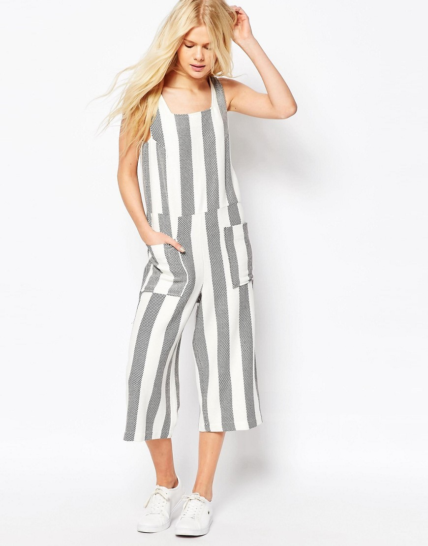 Jumpsuit In Woven Stripe With Square Neck White - fit: loose; sleeve style: sleeveless; pattern: striped; waist detail: belted waist/tie at waist/drawstring; predominant colour: white; secondary colour: mid grey; occasions: casual; length: calf length; fibres: cotton - 100%; sleeve length: sleeveless; texture group: cotton feel fabrics; style: jumpsuit; neckline: medium square neck; pattern type: fabric; multicoloured: multicoloured; season: s/s 2016; wardrobe: highlight