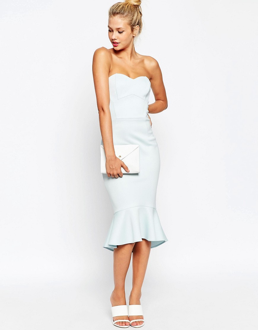 Pephem Bandeau Midi Dress Light Blue - style: shift; neckline: strapless (straight/sweetheart); fit: tailored/fitted; pattern: plain; sleeve style: strapless; predominant colour: pale blue; length: on the knee; fibres: polyester/polyamide - mix; occasions: occasion; sleeve length: sleeveless; pattern type: fabric; texture group: other - light to midweight; season: s/s 2016; wardrobe: event