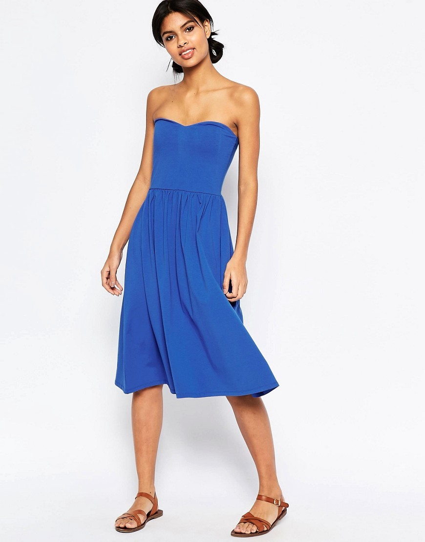 Bandeau Midi Sundress Blue - length: below the knee; neckline: strapless (straight/sweetheart); pattern: plain; sleeve style: strapless; predominant colour: royal blue; occasions: casual, holiday; fit: fitted at waist & bust; style: fit & flare; fibres: cotton - stretch; hip detail: subtle/flattering hip detail; sleeve length: sleeveless; pattern type: fabric; texture group: jersey - stretchy/drapey; season: s/s 2016; wardrobe: highlight