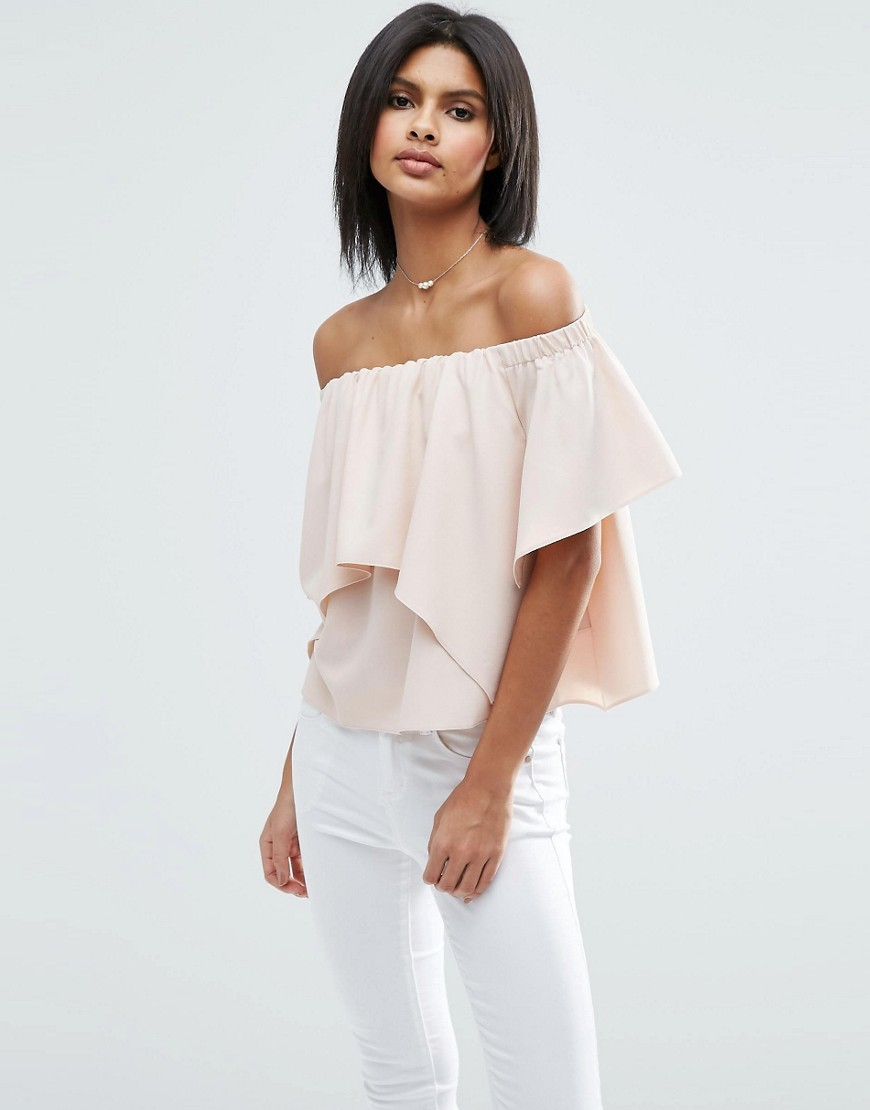 Tiered Off Shoulder Top Pink - neckline: off the shoulder; sleeve style: angel/waterfall; pattern: plain; predominant colour: blush; occasions: evening; length: standard; style: top; fibres: polyester/polyamide - mix; fit: loose; sleeve length: half sleeve; bust detail: tiers/frills/bulky drapes/pleats; pattern type: fabric; texture group: other - light to midweight; season: s/s 2016; wardrobe: event
