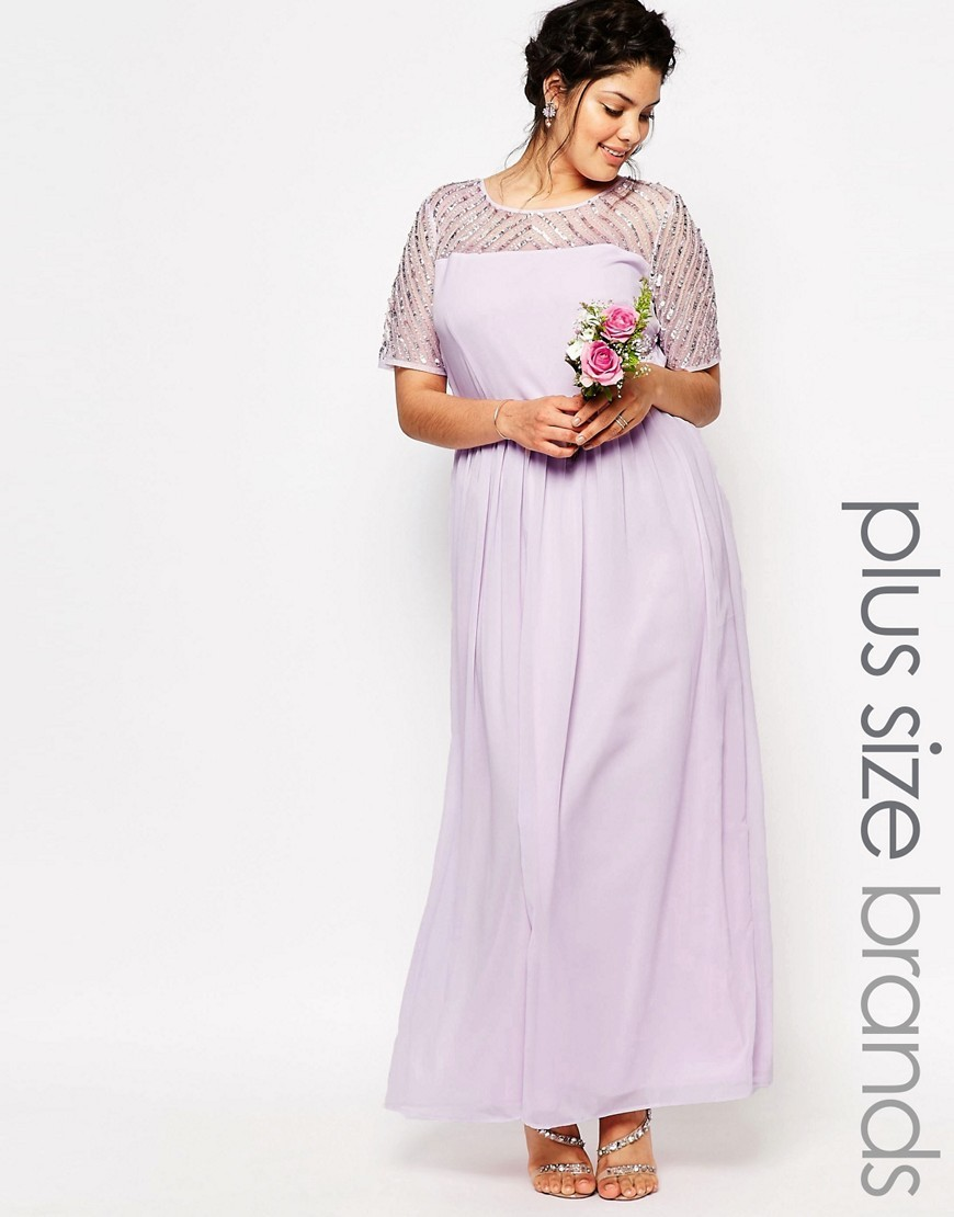 Chiffon Embellished Maxi Dress Purple - style: maxi dress; length: ankle length; predominant colour: lilac; fit: fitted at waist & bust; fibres: polyester/polyamide - 100%; occasions: occasion; neckline: crew; sleeve length: short sleeve; sleeve style: standard; texture group: lace; pattern type: fabric; pattern size: standard; pattern: patterned/print; embellishment: beading; shoulder detail: sheer at shoulder; season: s/s 2016; wardrobe: event; embellishment location: shoulder