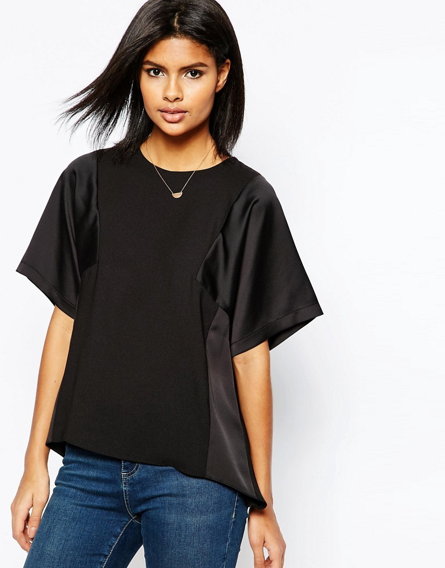 Matte And Shine Insert Tee Black - neckline: round neck; pattern: plain; style: t-shirt; predominant colour: black; occasions: casual; length: standard; fibres: polyester/polyamide - 100%; fit: loose; back detail: longer hem at back than at front; sleeve length: half sleeve; sleeve style: standard; texture group: structured shiny - satin/tafetta/silk etc.; pattern type: fabric; season: s/s 2016; wardrobe: basic