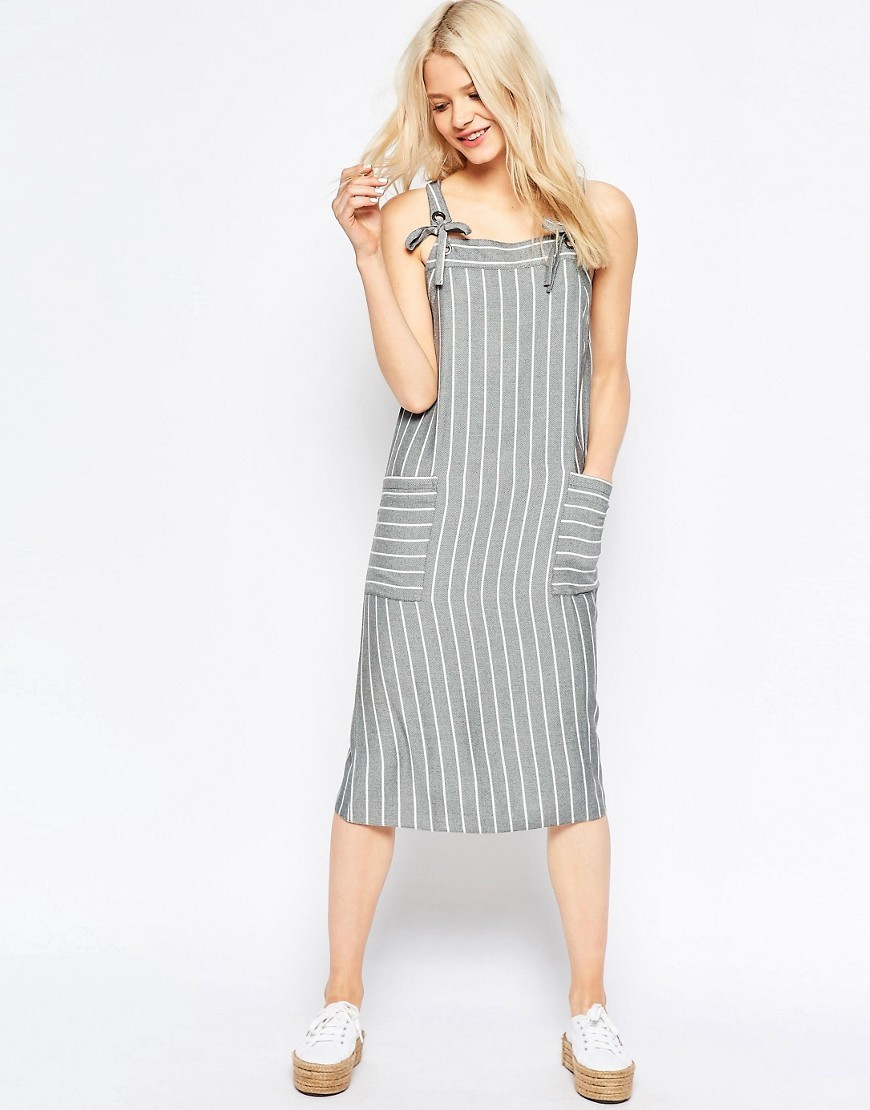 Striped Midi Pinafore Dress Grey - length: below the knee; sleeve style: sleeveless; pattern: striped; style: dungaree dress/pinafore; predominant colour: light grey; occasions: casual; fit: body skimming; hip detail: subtle/flattering hip detail; sleeve length: sleeveless; neckline: medium square neck; pattern type: fabric; pattern size: standard; texture group: other - light to midweight; fibres: viscose/rayon - mix; season: s/s 2016; wardrobe: highlight