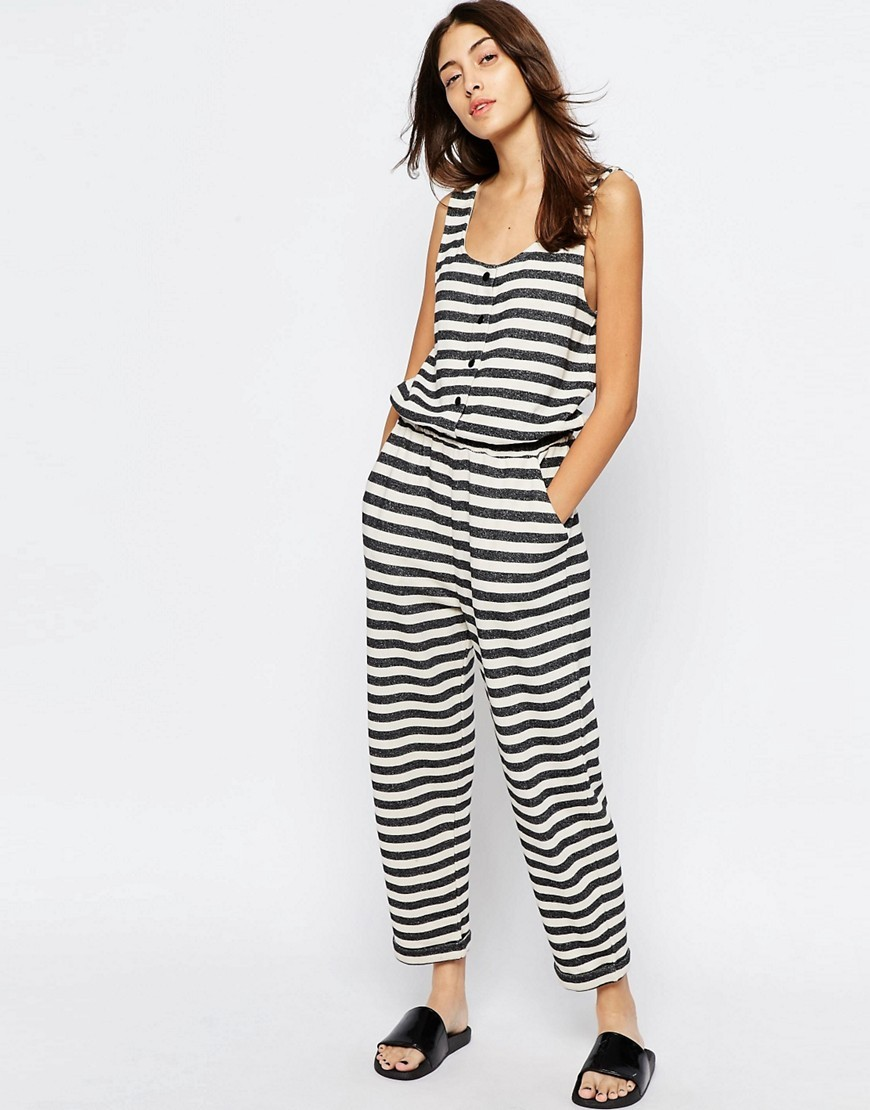 Stripe Jersey Jumpsuit With Popper Front Ecru/Navy - fit: fitted at waist; pattern: horizontal stripes; sleeve style: sleeveless; secondary colour: ivory/cream; predominant colour: navy; occasions: casual, holiday; length: ankle length; neckline: scoop; fibres: cotton - 100%; sleeve length: sleeveless; style: jumpsuit; pattern type: fabric; pattern size: big & busy; texture group: jersey - stretchy/drapey; season: s/s 2016