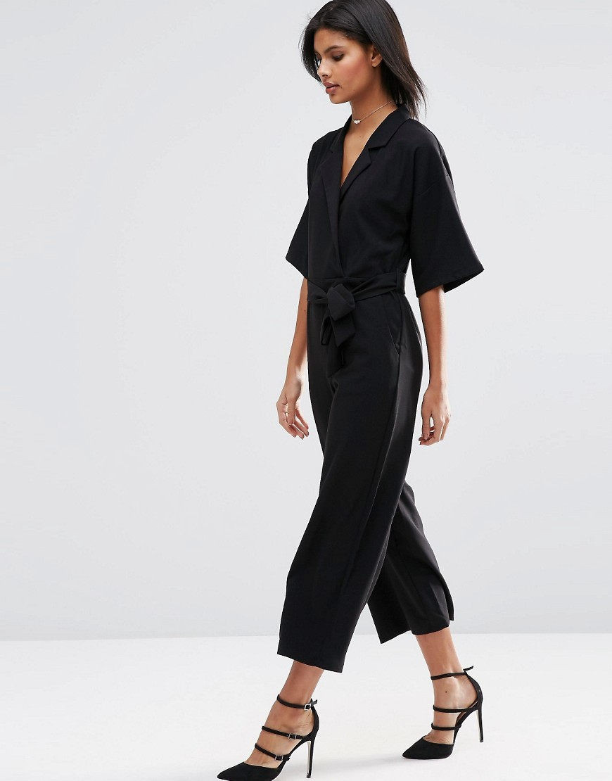 Jumpsuit With Kimono Sleeve Black - neckline: low v-neck; fit: fitted at waist; pattern: plain; sleeve style: kimono; waist detail: belted waist/tie at waist/drawstring; predominant colour: black; occasions: evening, creative work; length: ankle length; fibres: viscose/rayon - 100%; sleeve length: half sleeve; texture group: crepes; style: jumpsuit; pattern type: fabric; season: s/s 2016