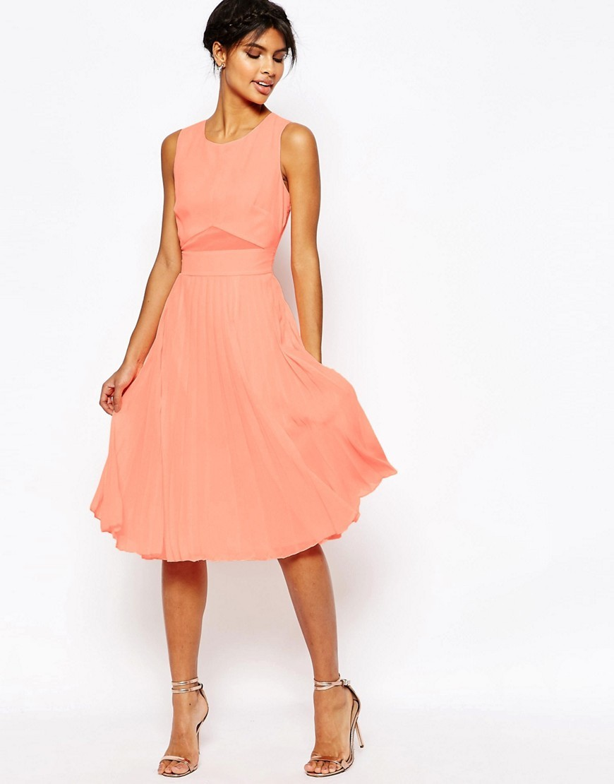 Sheer And Solid Pleated Midi Dress Hot Coral - length: below the knee; neckline: round neck; pattern: plain; sleeve style: sleeveless; predominant colour: coral; occasions: evening, occasion; fit: fitted at waist & bust; style: fit & flare; fibres: polyester/polyamide - 100%; hip detail: subtle/flattering hip detail; sleeve length: sleeveless; texture group: sheer fabrics/chiffon/organza etc.; pattern type: fabric; pattern size: standard; season: s/s 2016; wardrobe: event
