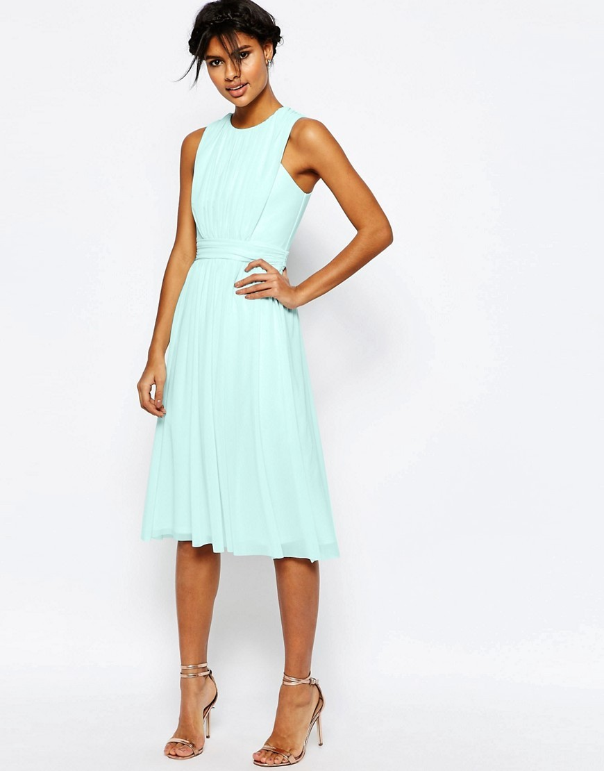 Mesh Ruched Midi Dress Mint - length: below the knee; pattern: plain; sleeve style: sleeveless; predominant colour: pistachio; occasions: evening; fit: fitted at waist & bust; style: fit & flare; fibres: viscose/rayon - stretch; neckline: crew; sleeve length: sleeveless; pattern type: fabric; texture group: jersey - stretchy/drapey; season: s/s 2016