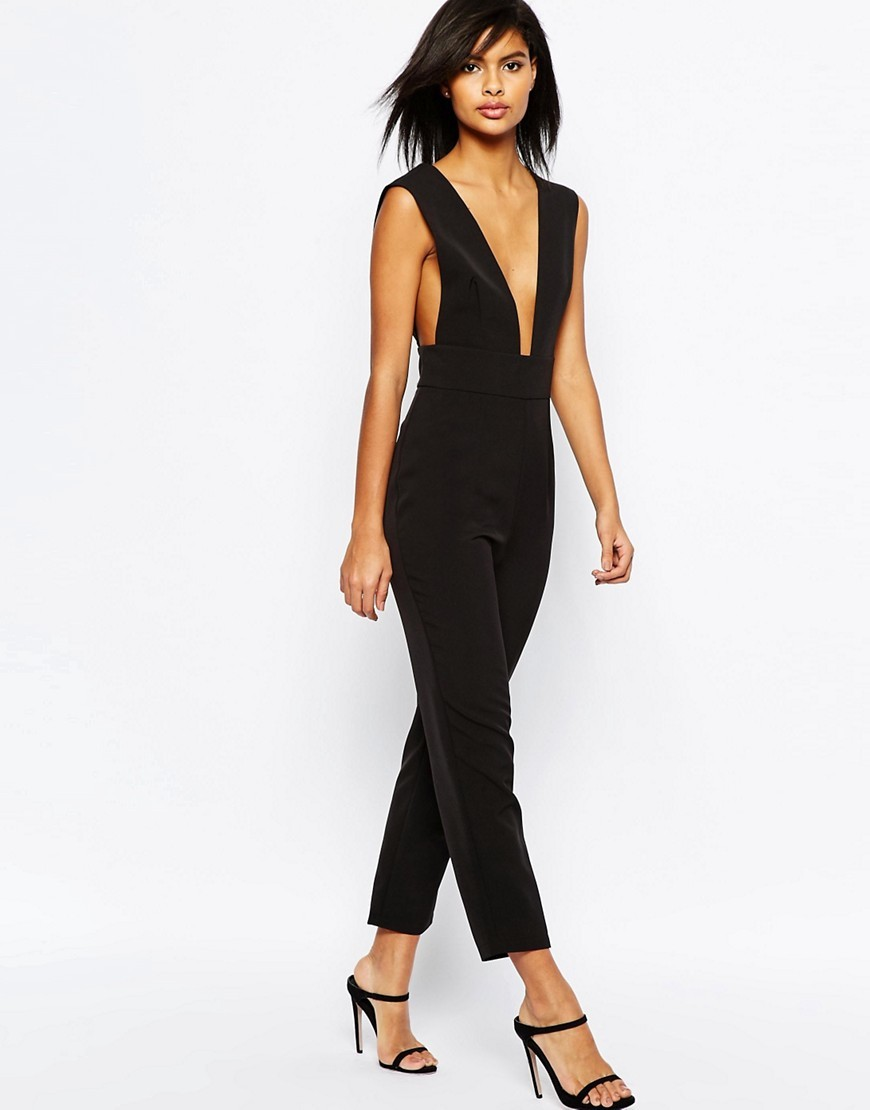 Structured Plunge Jumpsuit Black - neckline: plunge; sleeve style: standard vest straps/shoulder straps; fit: tailored/fitted; pattern: plain; predominant colour: black; occasions: evening; length: ankle length; fibres: polyester/polyamide - stretch; sleeve length: sleeveless; texture group: crepes; style: jumpsuit; pattern type: fabric; season: s/s 2016; wardrobe: event
