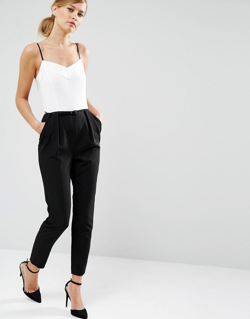 Cahron Strappy Jumpsuit In Mono 99 White - length: standard; neckline: low v-neck; sleeve style: spaghetti straps; fit: tailored/fitted; predominant colour: white; secondary colour: black; occasions: evening, occasion; fibres: polyester/polyamide - stretch; sleeve length: sleeveless; style: jumpsuit; pattern type: fabric; pattern size: standard; pattern: colourblock; texture group: other - light to midweight; season: s/s 2016; wardrobe: event