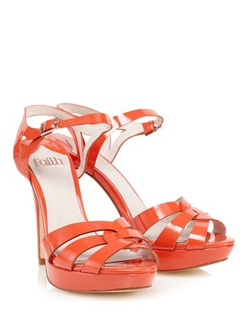 Platform Heeled Sandals - predominant colour: bright orange; occasions: evening; material: faux leather; ankle detail: ankle strap; heel: stiletto; toe: open toe/peeptoe; style: standard; finish: patent; pattern: plain; heel height: very high; shoe detail: platform; season: s/s 2016; wardrobe: event
