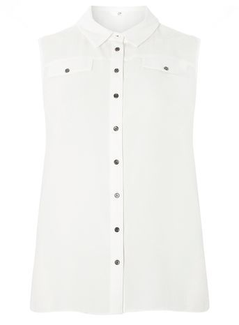 Ivory Sleeveless Shirt - neckline: shirt collar/peter pan/zip with opening; pattern: plain; sleeve style: sleeveless; style: shirt; predominant colour: ivory/cream; occasions: casual; length: standard; fibres: polyester/polyamide - stretch; fit: body skimming; sleeve length: sleeveless; pattern type: fabric; texture group: other - light to midweight; season: s/s 2016; wardrobe: basic