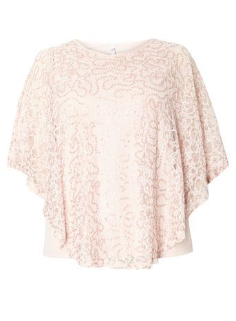 Pink Lace Sequin Cape Top - sleeve style: angel/waterfall; predominant colour: blush; occasions: evening; length: standard; style: top; fibres: viscose/rayon - stretch; fit: body skimming; neckline: crew; sleeve length: half sleeve; texture group: lace; pattern type: fabric; pattern size: light/subtle; pattern: patterned/print; season: s/s 2016; wardrobe: event