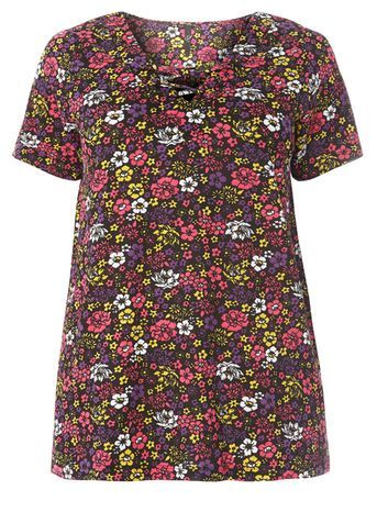Black Multicoloured Floral Print Top - neckline: v-neck; style: t-shirt; predominant colour: pink; secondary colour: black; occasions: casual, creative work; length: standard; fibres: cotton - 100%; fit: body skimming; sleeve length: short sleeve; sleeve style: standard; pattern type: fabric; pattern size: standard; pattern: florals; texture group: jersey - stretchy/drapey; multicoloured: multicoloured; season: s/s 2016; wardrobe: highlight