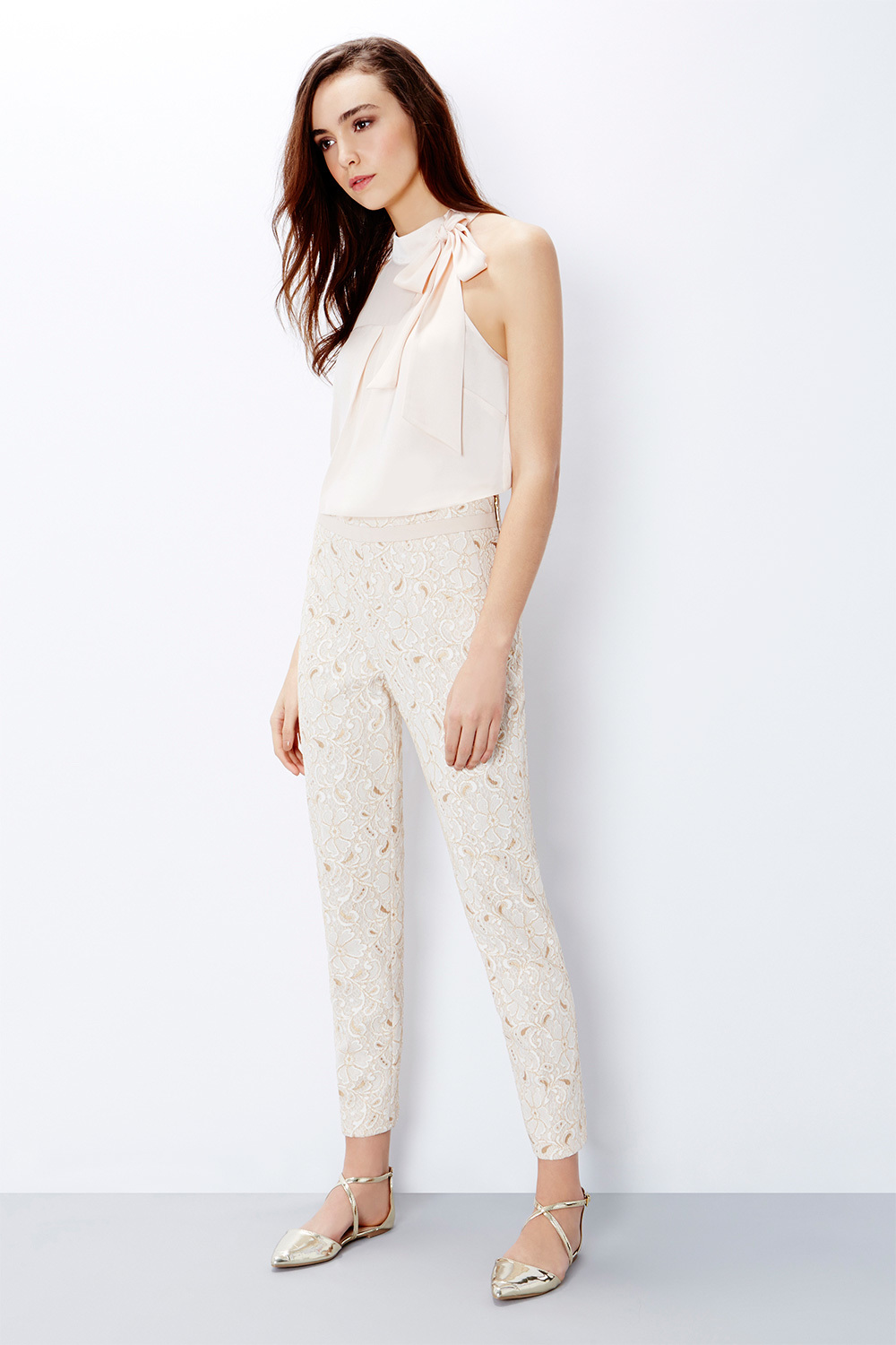 Levitt Lace Trousers - waist: high rise; predominant colour: ivory/cream; length: ankle length; fibres: nylon - mix; fit: slim leg; pattern type: fabric; pattern: patterned/print; texture group: other - light to midweight; style: standard; embellishment: lace; occasions: creative work; season: s/s 2016; wardrobe: highlight