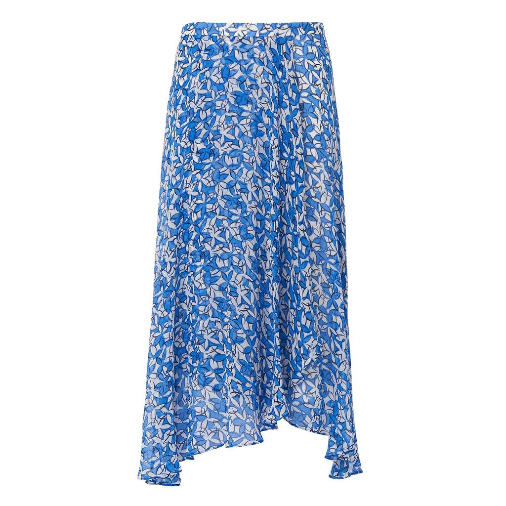 Karo Printed Silk Skirt - length: calf length; fit: body skimming; waist: mid/regular rise; secondary colour: white; predominant colour: royal blue; occasions: casual; style: asymmetric (hem); fibres: silk - 100%; texture group: sheer fabrics/chiffon/organza etc.; pattern type: fabric; pattern: florals; multicoloured: multicoloured; season: s/s 2016; wardrobe: highlight