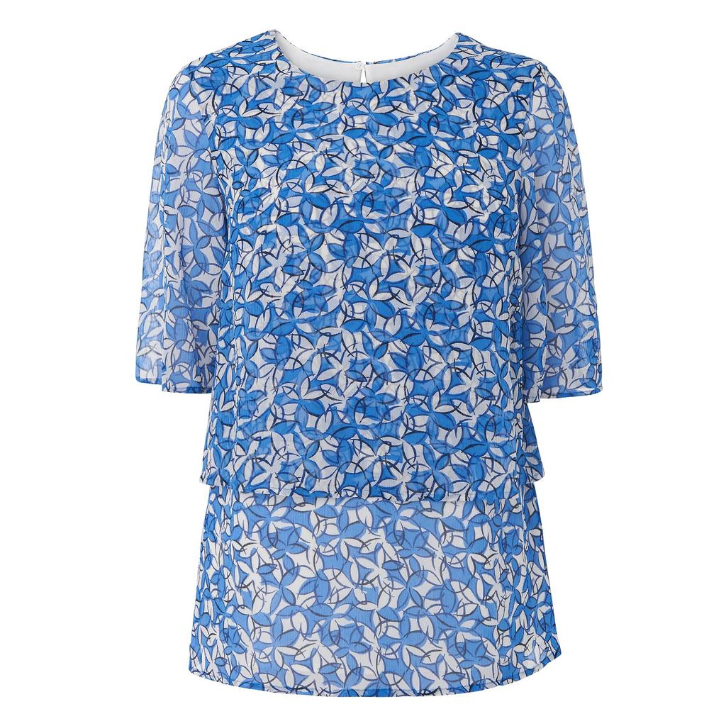 Karo Printed Silk Top Blue - sleeve style: angel/waterfall; style: blouse; secondary colour: white; predominant colour: diva blue; occasions: casual, creative work; length: standard; fibres: silk - 100%; fit: straight cut; neckline: crew; sleeve length: half sleeve; pattern type: fabric; pattern size: standard; pattern: florals; texture group: woven light midweight; multicoloured: multicoloured; season: s/s 2016; wardrobe: highlight