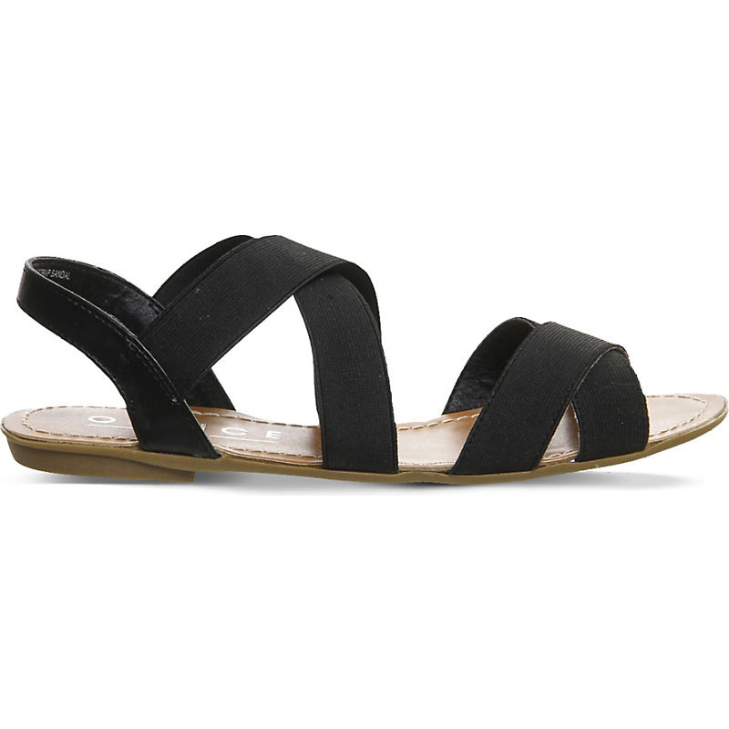 Bermuda Elasticated Slingback Sandals, Women's, Black - predominant colour: black; occasions: casual, holiday; material: fabric; heel height: flat; heel: block; toe: open toe/peeptoe; style: strappy; finish: plain; pattern: plain; season: s/s 2016