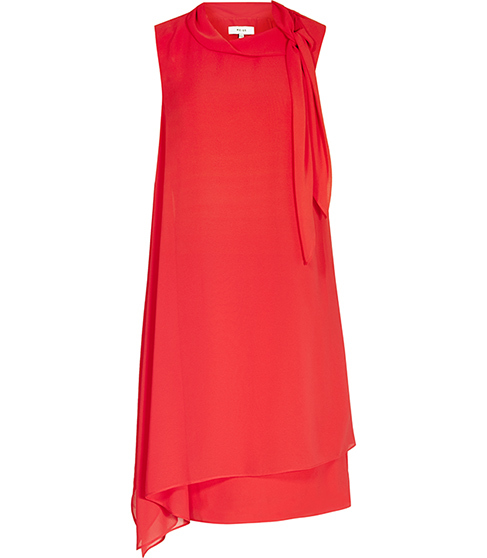 Aries Tie Neck Dress - style: shift; pattern: plain; sleeve style: sleeveless; predominant colour: true red; occasions: evening, occasion; length: on the knee; fit: straight cut; fibres: polyester/polyamide - 100%; neckline: crew; sleeve length: sleeveless; texture group: sheer fabrics/chiffon/organza etc.; pattern type: fabric; pattern size: standard; season: s/s 2016; wardrobe: event