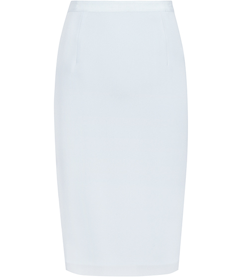 Yani Lightweight Pencil Skirt - pattern: plain; style: pencil; fit: tailored/fitted; waist: high rise; hip detail: draws attention to hips; predominant colour: pale blue; length: just above the knee; fibres: polyester/polyamide - 100%; occasions: occasion, creative work; waist detail: feature waist detail; pattern type: fabric; texture group: woven light midweight; season: s/s 2016; wardrobe: highlight