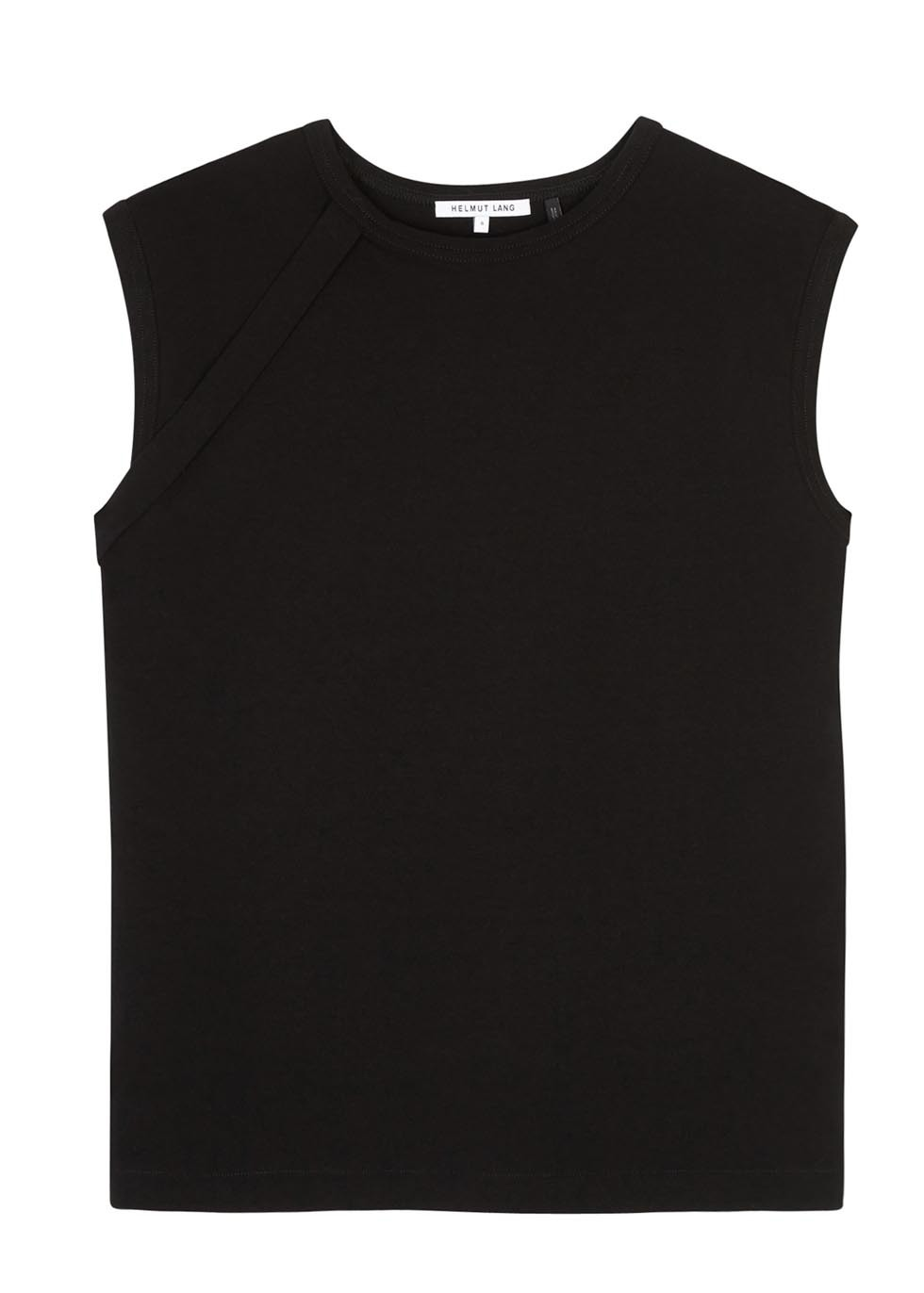 Vintage Black Cotton Top - neckline: round neck; pattern: plain; sleeve style: sleeveless; predominant colour: black; occasions: casual; length: standard; style: top; fibres: cotton - 100%; fit: straight cut; sleeve length: sleeveless; pattern type: fabric; texture group: jersey - stretchy/drapey; season: s/s 2016