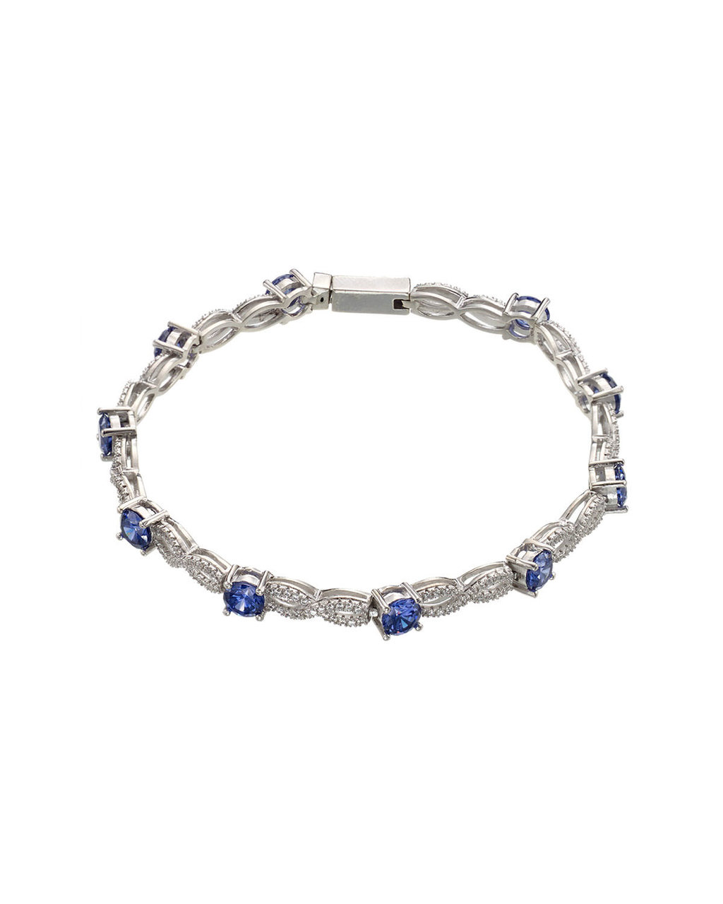 Cubic Zirconia Tennis Bracelet - secondary colour: navy; predominant colour: silver; occasions: evening, occasion; style: chain; size: standard; material: chain/metal; finish: metallic; season: s/s 2016