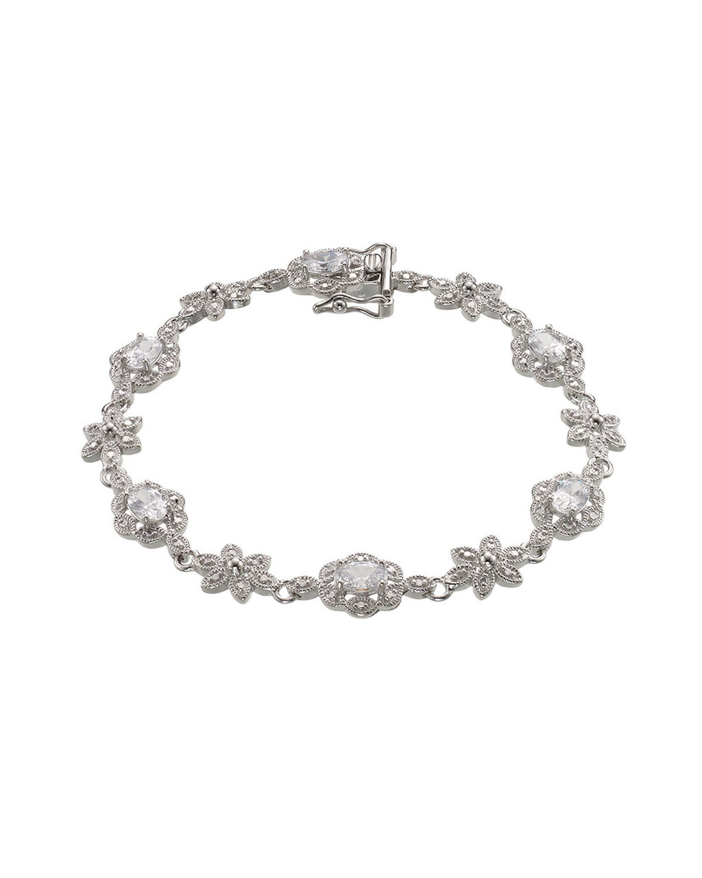 Cubic Zirconia Flower Bracelet - predominant colour: silver; occasions: evening, occasion; style: bangle/standard; size: standard; material: chain/metal; finish: metallic; season: s/s 2016; wardrobe: event
