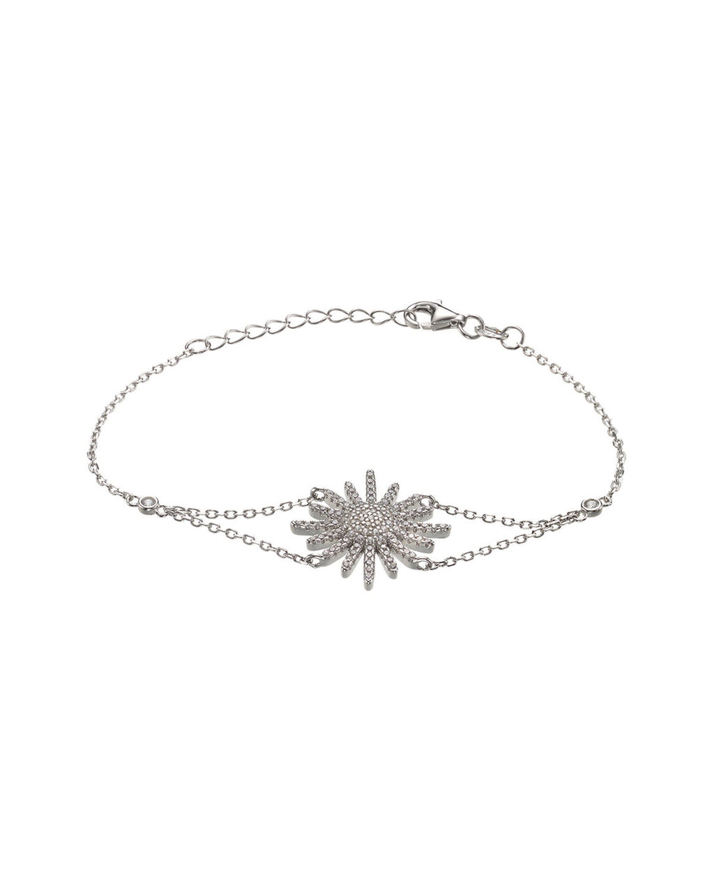 Cubic Zirconia Starburst Bracelet - predominant colour: silver; occasions: evening, occasion; style: chain; size: small/fine; material: chain/metal; finish: metallic; embellishment: chain/metal; season: s/s 2016; wardrobe: event