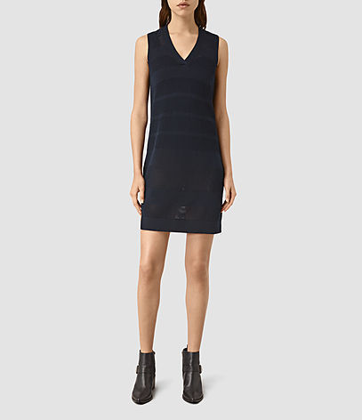 Fix Mesh Dress - style: shift; length: mid thigh; neckline: v-neck; fit: tailored/fitted; pattern: plain; sleeve style: sleeveless; predominant colour: black; occasions: evening; fibres: linen - mix; sleeve length: sleeveless; pattern type: fabric; texture group: woven light midweight; season: s/s 2016; wardrobe: event
